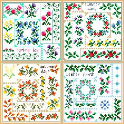 cross stitch pattern Seasons Quilt Squares