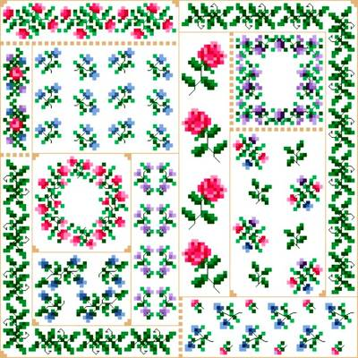 cross stitch pattern Summer Quilt Square