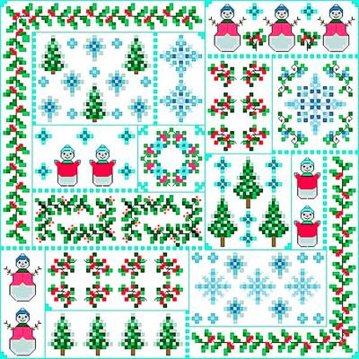 cross stitch pattern Winter Quilt Square