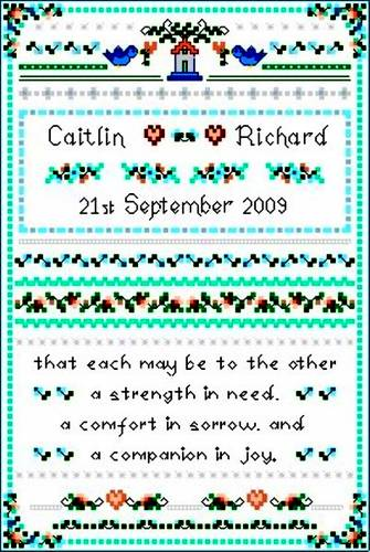 cross stitch pattern Wedding Sampler