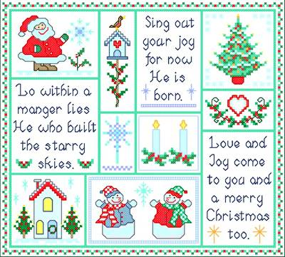 cross stitch pattern Christmas Joy