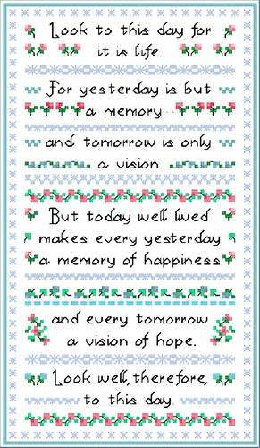 cross stitch pattern Look to this Day