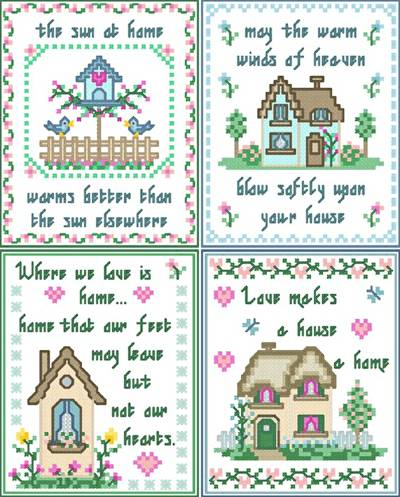 New Home Cards Cross Stitch Pattern Sayings