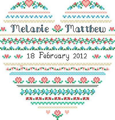 cross stitch pattern Wedding Heart