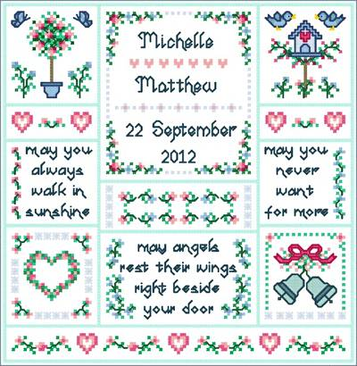 cross stitch pattern Wedding Angels