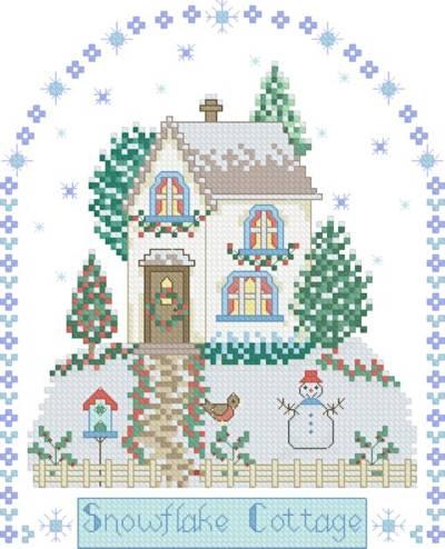 cross stitch pattern Snowflake Cottage