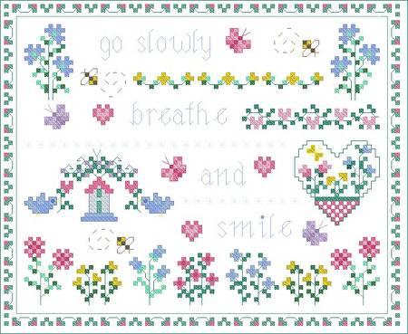 cross stitch pattern Go Slowly