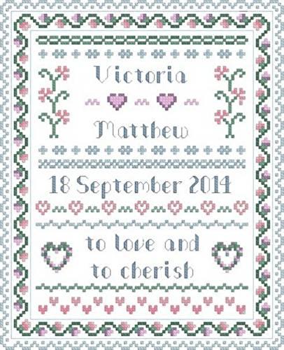 cross stitch pattern Wedding traditional sampler
