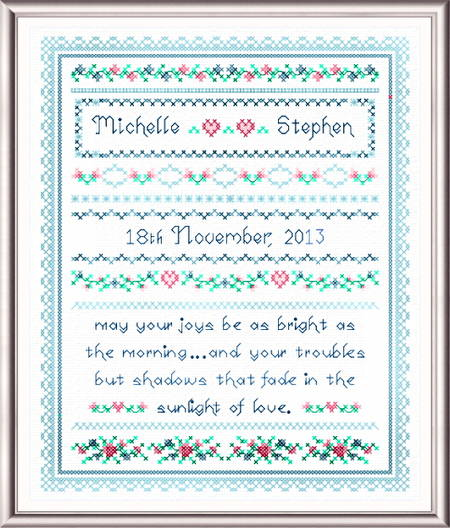 cross stitch pattern Wedding Joy