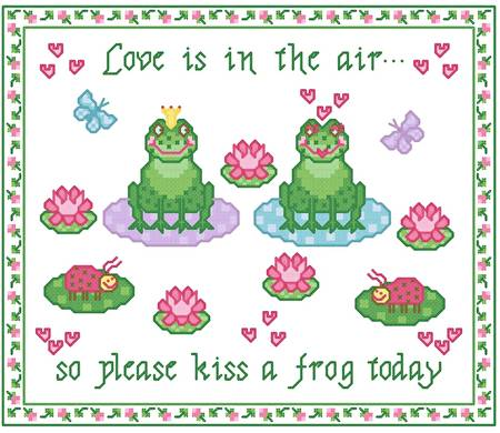 cross stitch pattern Kiss a Frog Today
