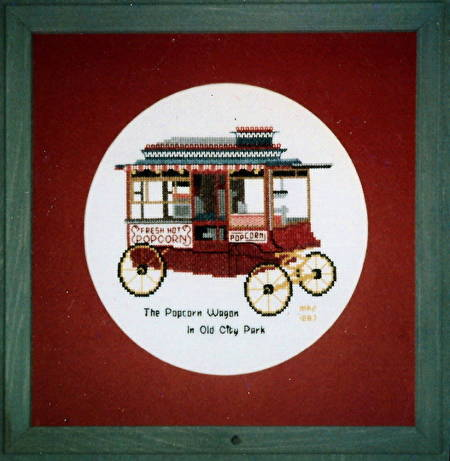cross stitch pattern The Popcorn Wagon