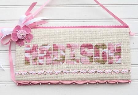 cross stitch pattern Pink Camo Alphabet