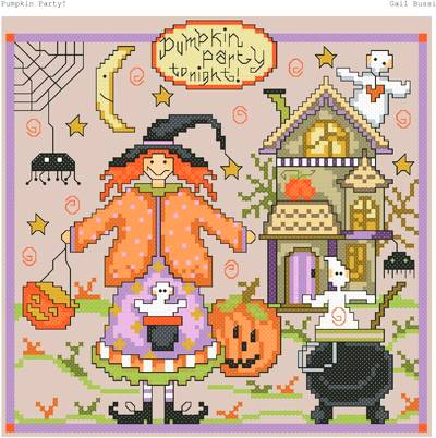 cross stitch pattern Pumpkin Party