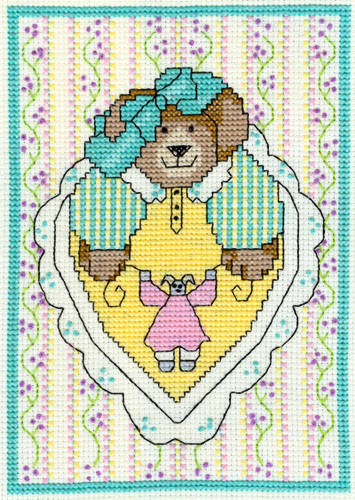cross stitch pattern Teddy with Lace