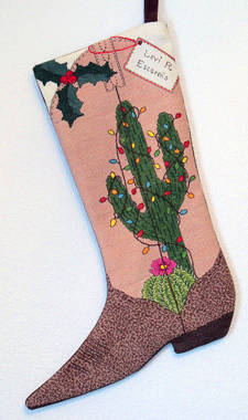 cross stitch pattern Christmas Cactus Boot Stocking