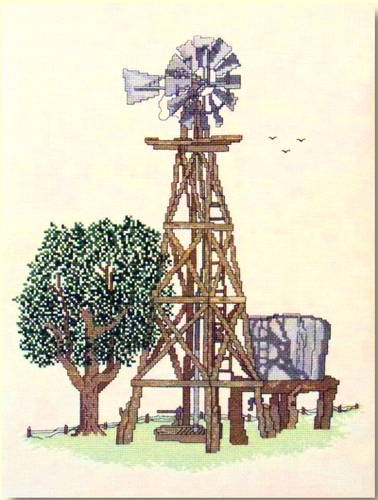 cross stitch pattern Country Windmill