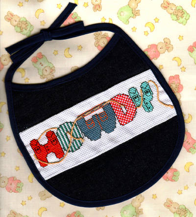 cross stitch pattern Howdy Bib