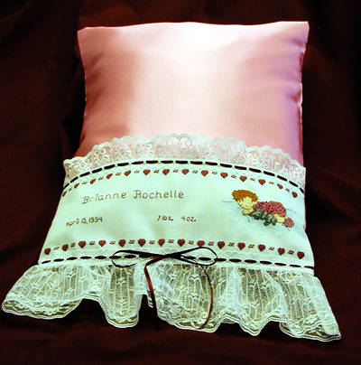 cross stitch pattern Sleeping Baby Pillowcase