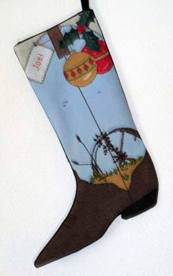 cross stitch pattern Wagon Wheel Cowboy Boot Stocking