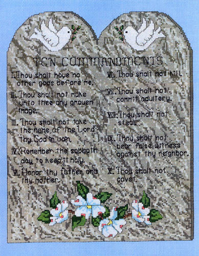 cross stitch pattern Ten Commandments Picture