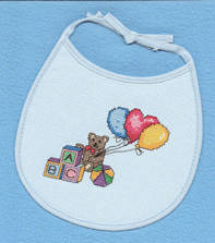 cross stitch pattern Alphabet Bear Bib