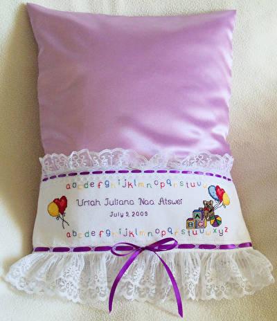 cross stitch pattern Alphabet Bear Pillowcase