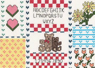 Teddy Bear Sampler Picture Cross Stitch Pattern Samplers