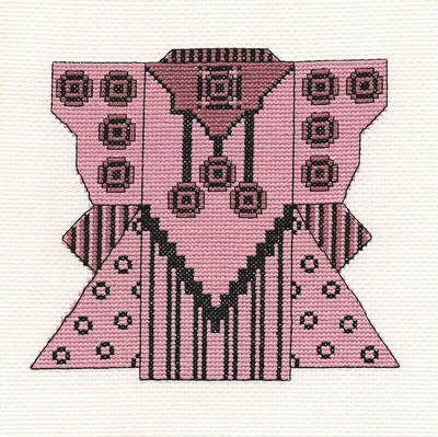 cross stitch pattern Rose  Black Kimono