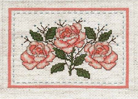cross stitch pattern Coral Rose Spray