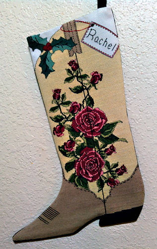 cross stitch pattern Red Roses Cowgirl Boot Stocking