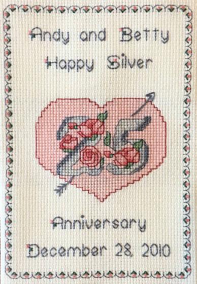 cross stitch pattern Silver Anniversary