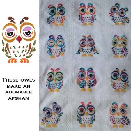 cross stitch pattern Art Deco Owl 01