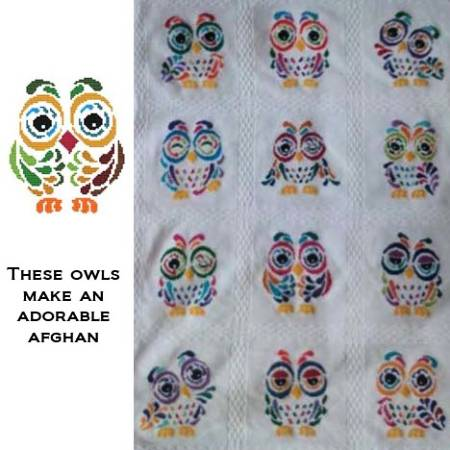 cross stitch pattern Art Deco Owl 02