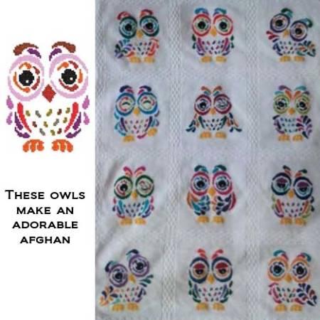 cross stitch pattern Art Deco Owl 03