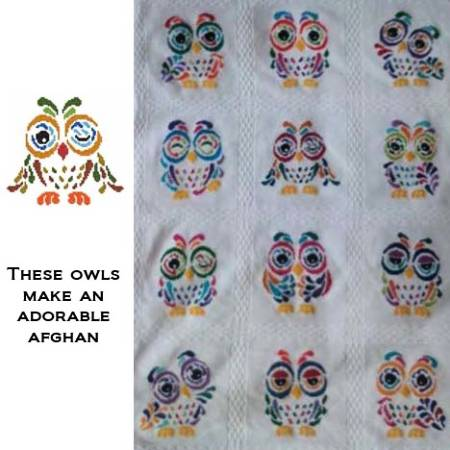 cross stitch pattern Art Deco Owl 04