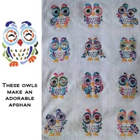 cross stitch pattern Art Deco Owl 05