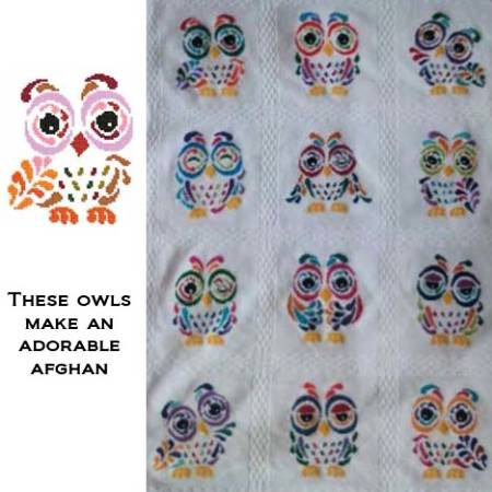 cross stitch pattern Art Deco Owl 06