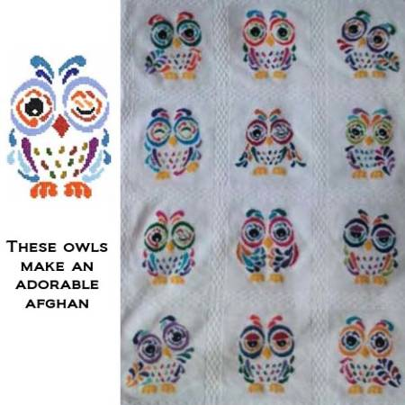 cross stitch pattern Art Deco Owl 07