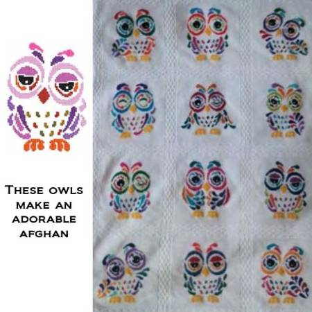 cross stitch pattern Art Deco Owl 08