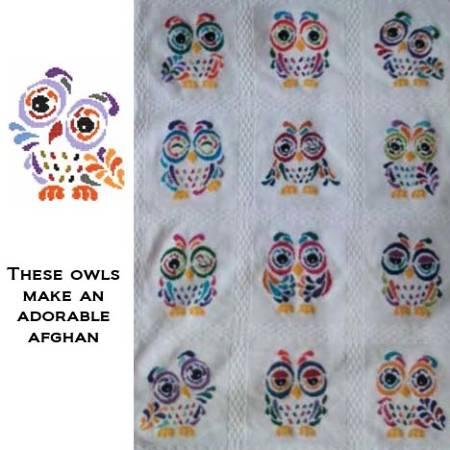 cross stitch pattern Art Deco Owl 09