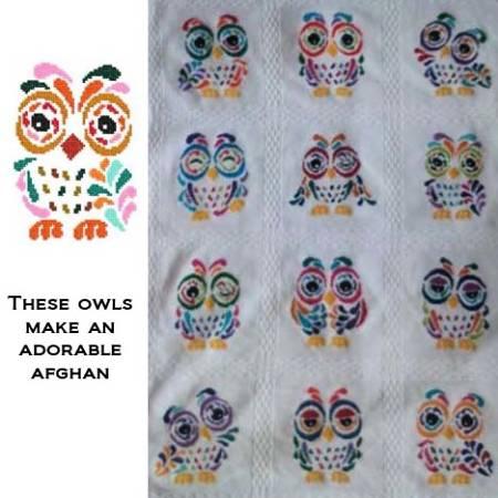 cross stitch pattern Art Deco Owl 10
