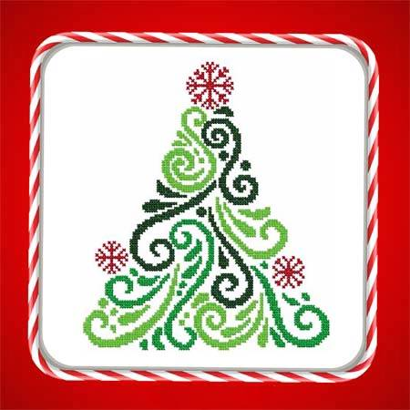 cross stitch pattern Art Deco Tree 01
