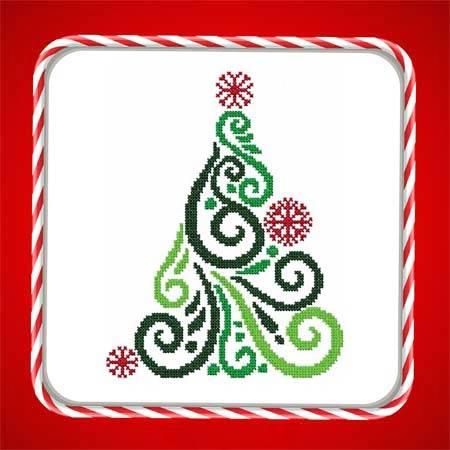 cross stitch pattern Art Deco Tree 02