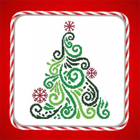 cross stitch pattern Art Deco Tree 03