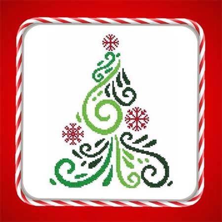 cross stitch pattern Art Deco Tree 04