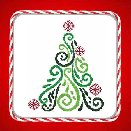 cross stitch pattern Art Deco Tree 05
