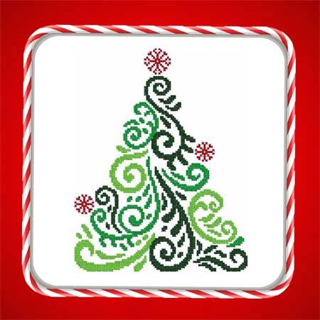 cross stitch pattern Art Deco Tree 07