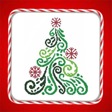 cross stitch pattern Art Deco Tree 08