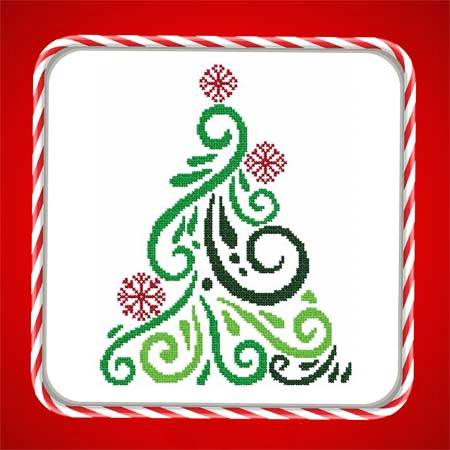 cross stitch pattern Art Deco Tree 09