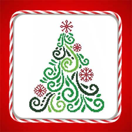 cross stitch pattern Art Deco Tree 10